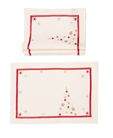 Festive Christmas Tree Embroidered Double Layer Christmas Placemats - Set of 4