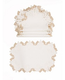 Anais Elegant Lace Embroidered Cutwork Placemats - Set of 4
