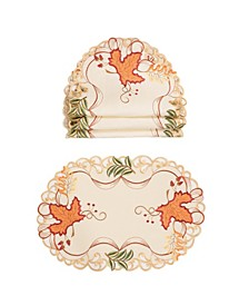 Falling Leaves Embroidered Cutwork Placemats - Set of 4