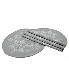Glistening Snow Christmas Round Placemats - Set of 4