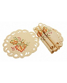 Thankful Leaf Embroidered Cutwork Fall Round Doilies - Set of 4