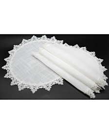 Victorian Lace Trim Round Placemats - Set of 4