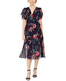 Floral-Print Faux-Wrap Midi Dress