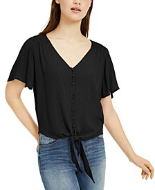 Juniors' Button-Front Tie-Waist Blouse