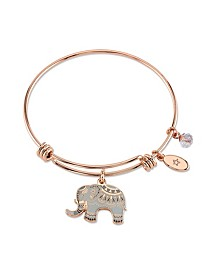 """All Good Things are Wild and Free"" Elephant Charm Adjustable Bangle Bracelet in Rose Gold-Tone & Stainless Steel with Silver Plated Charms"