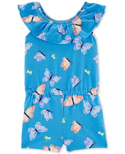 Carter's Toddler Girls Blue Butterfly-Print Romper