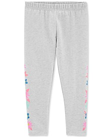Little & Big Girls Gray Floral-Print Leggings