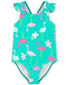 Baby Girls 1-Pc. Flamingo-Print Swimsuit