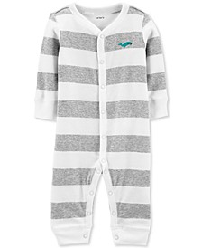 Baby Boy's 1-Pc. Striped Whale Cotton Sleep & Play