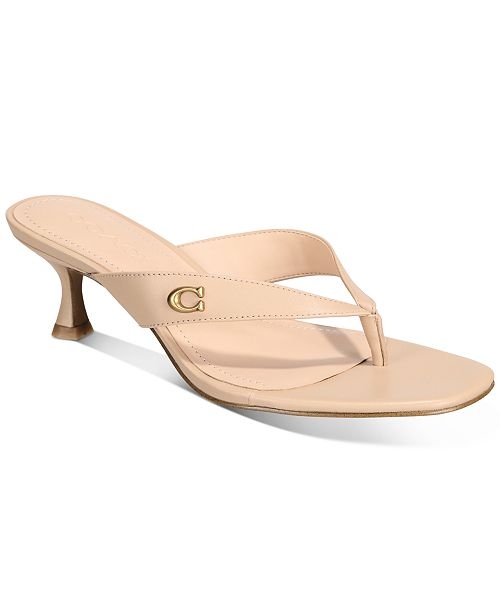 COACH Women's Audree Leather Thong Sandals