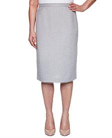 Alfred Dunner Primrose Garden Basket Weave Lace-Trimmed Skirt