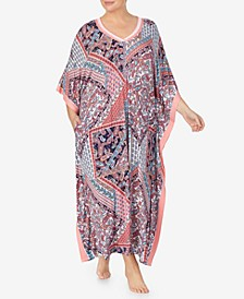Plus Size Knit Printed Caftan, Online Only