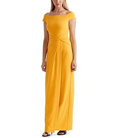 Cap-Sleeve Crepe Gown