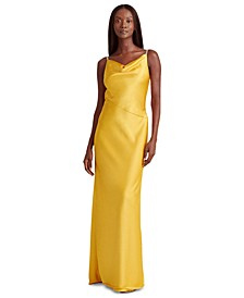Satin Cowlneck Embellished Gown