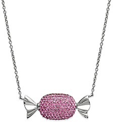 Platinum Over  Sterling Silver Necklace, Pink Crystal Candy Pendant