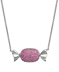 Simone I. Smith Platinum Over  Sterling Silver Necklace, Pink Crystal Candy Pendant