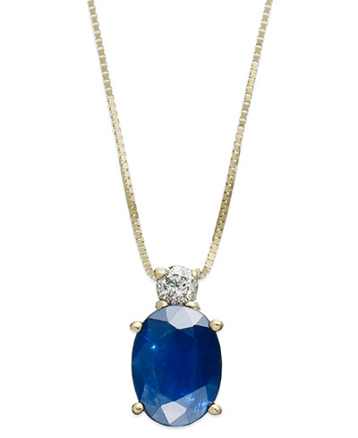 14k Gold Necklace, Sapphire (1-1/2 ct. t.w.) and Diamond Accent Oval Pendant