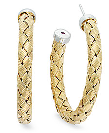 The Fifth Season by Roberto Coin 18k Gold and White Gold over Sterling Earrings, Medium Woven Hoops