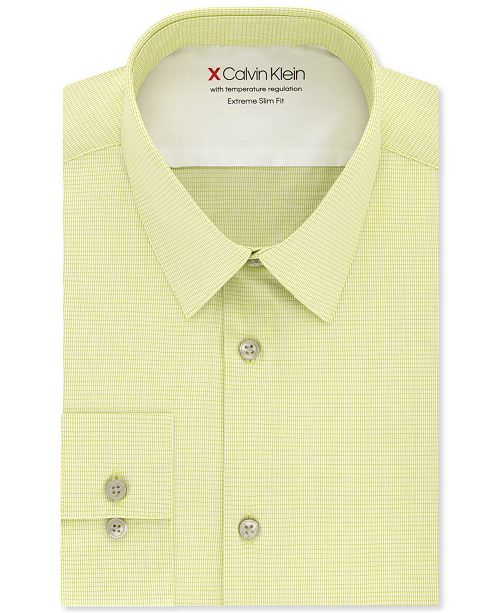 Calvin Klein Men's Extra-Slim Fit Performance Stretch Vine Stripe Dress Shirt
