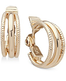"""Gold-Tone Small Multi-Ring Hoop Clip-On Earrings, .6"""""""