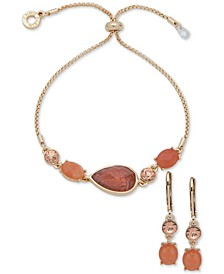 Multicolor Stone Drop Earrings & Slider Bracelet Set