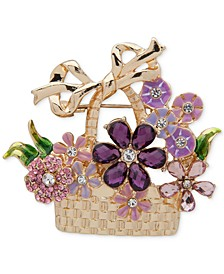Gold-Tone Multicolor Crystal Flower Basket Pin