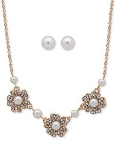 Gold-Tone Pavé & Imitation Pearl Flower Statement Necklace & Stud Earrings Set