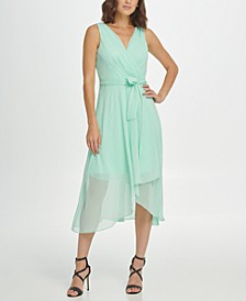 Belted Sleeveless Faux Wrap Dress