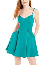 Juniors' Scalloped-Neck Dress