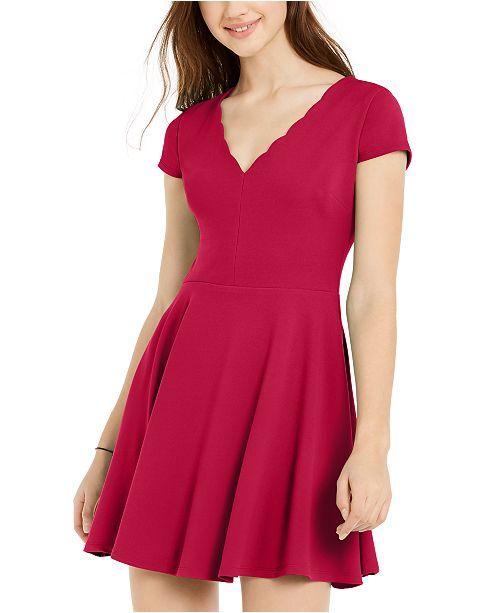 B Darlin Juniors' Pleated-Skirt Fit & Flare Dress
