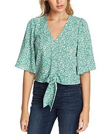 Folk Silhouette Floral-Print Tie Top