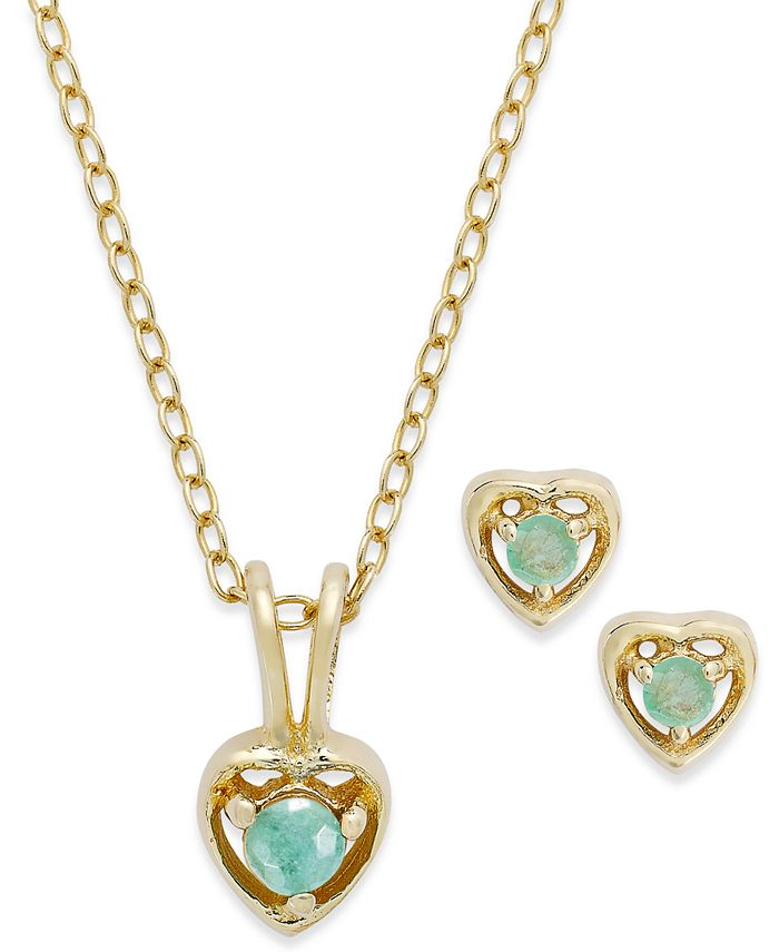 Macy's - Children's 18k Gold over Sterling Silver Necklace and Earrings Set, May Birthstone Emerald Heart Pendant and Stud Earrings Set (1/4 ct. t.w.)
