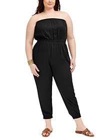 Trendy Plus Size Strapless Cargo Jumpsuit