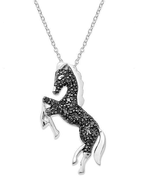 Undefined silver necklace black diamond horse pendant 110 ct main image aloadofball Choice Image
