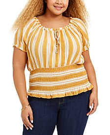 Trendy Plus Size Smocked Peasant Top