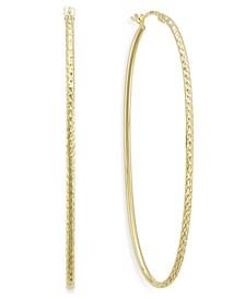 Diamond-Cut Oval Hoop Earrings in 14k Gold Vermeil, 60mm