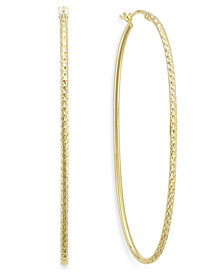 Diamond-Cut Oval Hoop Earrings in 14k Gold Vermeil, 60mm