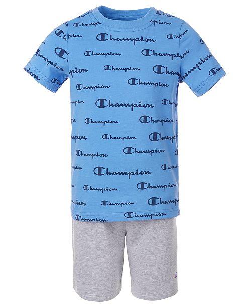 Champion Little Boys 2-Pc. Script Logo T-Shirt & Shorts Set