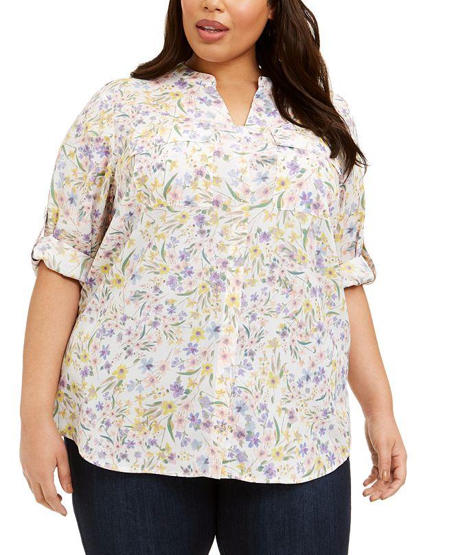 Calvin Klein Plus Size Floral-Print Button-Up Top