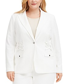 Plus Size Lace-Up Button Blazer