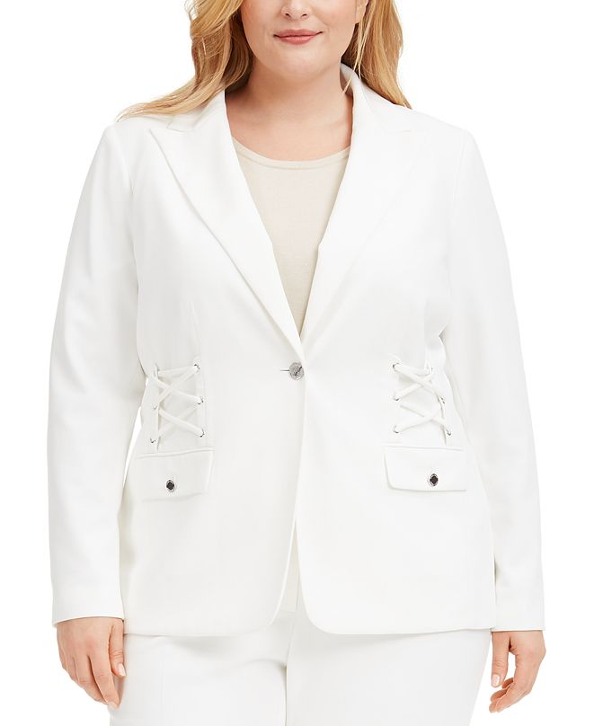 Calvin Klein Plus Size Lace-Up Button Blazer
