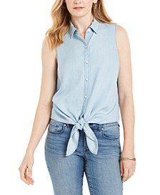Petite Cotton Chambray Tie-Front Top, Created for Macy's