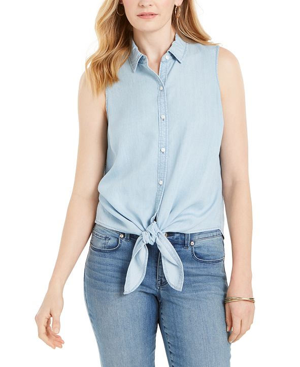 Charter Club Cotton Tie-Hem Sleeveless Shirt, Created for Macy's