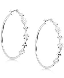 """Silver-Tone Medium Flower Hoop Earrings, 1.56"""""""
