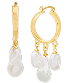 Gold-Tone Imitation Baroque Pearl Charm Hoop Earrings