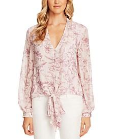 Floral-Print Tie-Hem Blouse