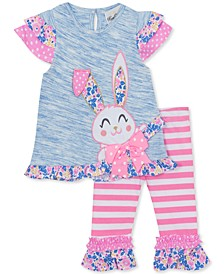 Little Girls 2-Pc. Ruffled Bunny Top & Leggings Set
