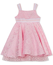 Toddler Girls Lace Ribbon-Strap Dress