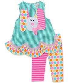 Little Girls 2-Pc. Bunny Top & Printed Leggings Set