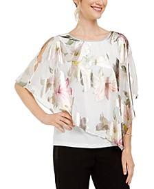 Cross-Back Floral Overlay Top